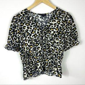 BANANA REPUBLIC Leopard Print V-Neck Blouse